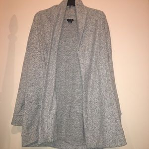 Light grey oversized cardigan.